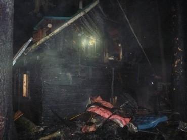 Požár chaty ve Svratce