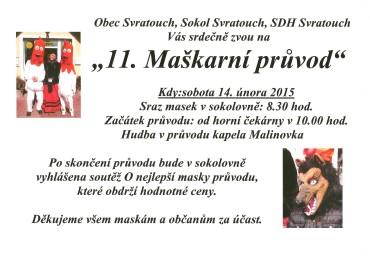 Pozvánka na tradiční Maškarní průvod