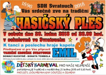 Pozvánka na tradiční Hasičský ples a dětský karneval …