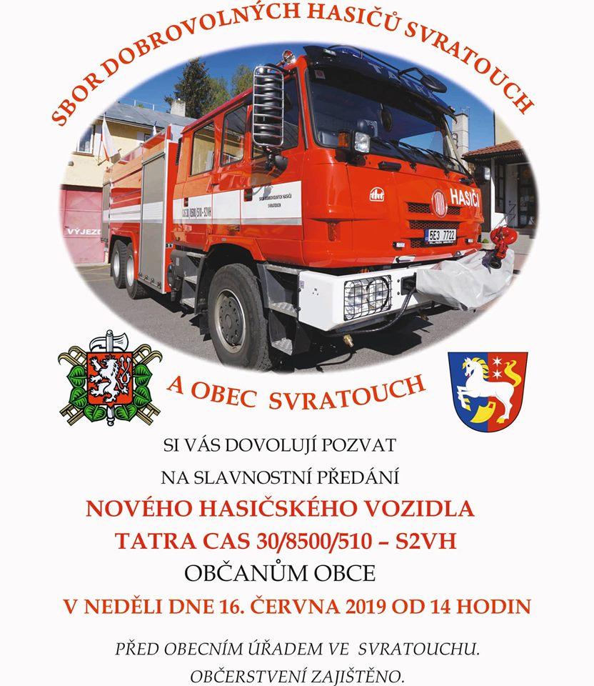 Pozvánka na slavnostní předání nového hasičského vozidla