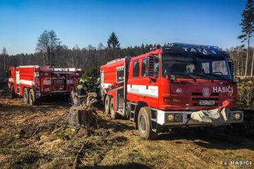 Požár trávy a hrabanky na pasece v obci Jeníkov