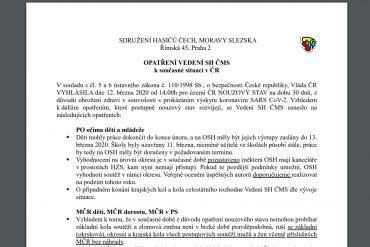 Opatření SH ČMS k aktuální situaci v ČR
